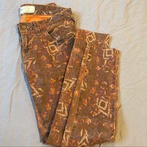 Free People Brown Tribal Aztec Printed Skinny Jean